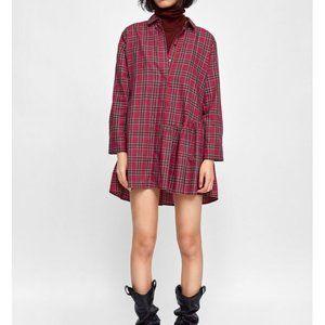 ZARA   Asymmetric checked tunic dress XL